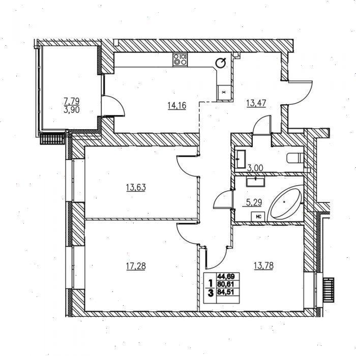 Продажа 3-к квартиры ул. Н. Ершова, д. 62Д, корп. 2